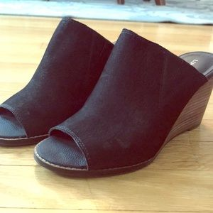 Lucky brand black suede slide wedges